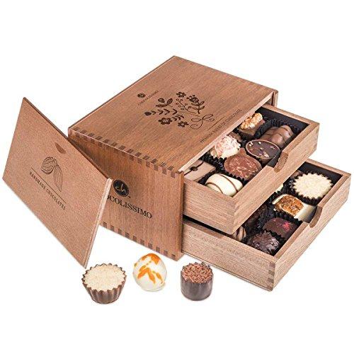 Chocolaterie - Ladies - 20 Luxus Pralinen | in einem Holzkästchen | Schokolade | Geschenkidee | Geschenke für Frauen | Frau | Mutter | Mama | Frauentag | Valentinstag | Süße Geschenk