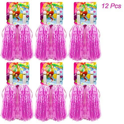 Cheerleader Kostüm Pom Poms - Hatisan-Pro 12er Pack(6x2) Cheerleading Pom Pom, Prämie Gerader Handgriff Cheerleader Pompons, Pompons Cheerleading für Sport Cheers Ball Dance Kostüm Nacht Party (Rosa)