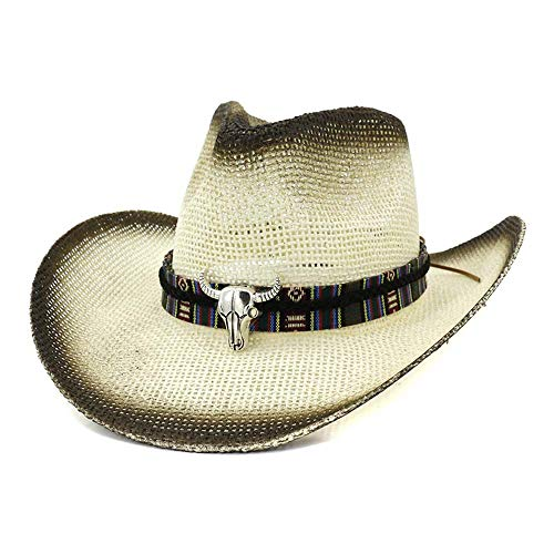 Apragaz Fashion Handmade Damen Herren Stroh Cowboy Hut Fashion Jazz Hut Mit Bull Decreation (Farbe : 2, Größe : 56-58CM)
