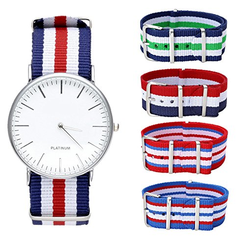 JSDDE Uhren,Genf Herren Damen Armbanduhr Nylon Textil Band Durchzugsband Analog Quarzuhr + 4x Ersatz Nylon Uhrenarmband