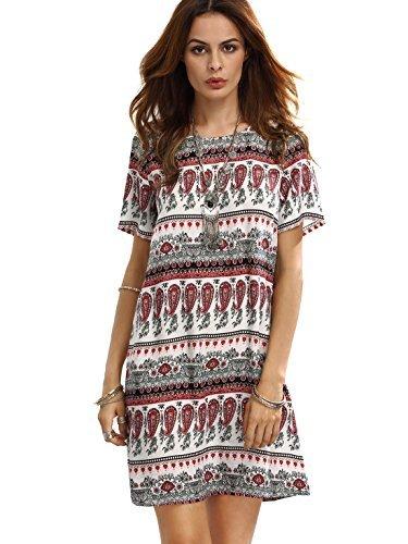 ROMWE Damen Kurzarm Casual Bohemian Sommerkleid mit Paisley Aufdruck Rot L (Mini-paisley-tunika)