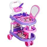 HOMCOM Kinder Mädchen Dresser Trolley Kosmetikwagen Rollenspiel Lila Rosa 47x30x55cm