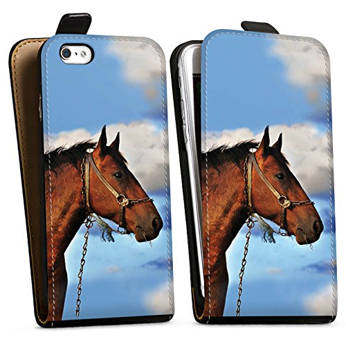 Apple iPhone X Silikon Hülle Case Schutzhülle Pferd Hengst Stute Downflip Tasche schwarz