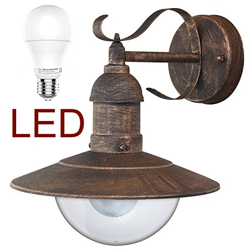 RABALUX 8271 LED A+, Oslo Wandleuchte Metall Außenlampe Hoflampe Gartenlampe Gartenleuchte Antik-Gold, 28 x 24 x 37 cm [Energieklasse A+]