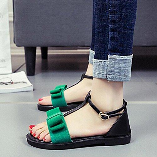 Sannysis Damen Schuhe Sommer Sandalen Flache Strap Sandalen Grün
