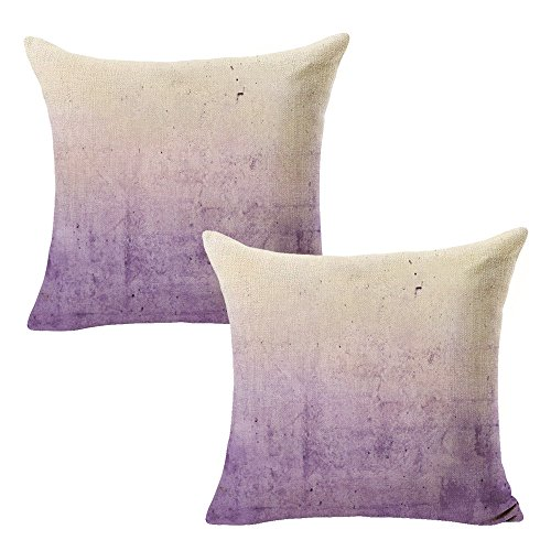 "WOMHOPE Set of 2 Pcs - 18"" Watercolor Gradients Beige Cotton Linen Square Throw Covers Pillow Covers Cushion Cover Pillowcase for Couch,Sofa (Dark purple & Light purple)"