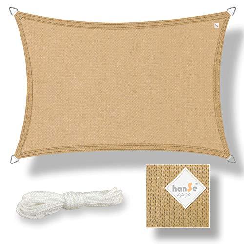 hanSe® Marken Sonnensegel Sonnenschutz Segel Rechteck 2x3 m Sand