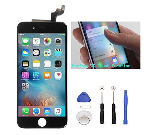 Display Reparaturset Ersatz LCD Display Touchscreen Bildschirm für iPhone 6S mit Anleitung, Werkzeug, Magnet-Schraubenkarte (Schwarz)