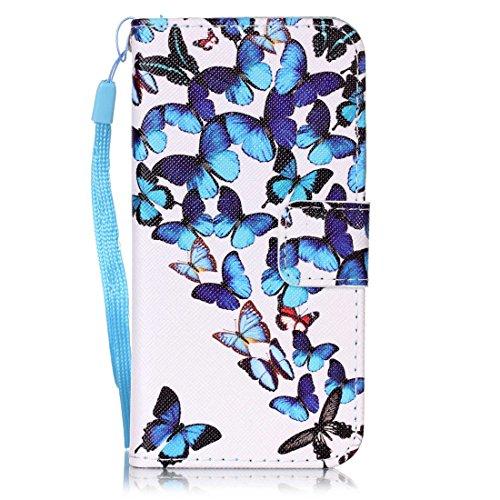 Nancen Apple iphone 5 / 5S / SE (4,0 Zoll) Hülle, Bunt PU Leder Brieftasche Schutzhülle Bookstyle Flip Case Wallet Cover mit Standfunktion, Kartenfächer und Magnetverschluss Klapp Protective Etui Hand Blau Schmetterling