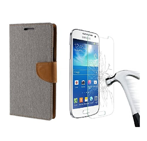 DENICELL Royal Combo Dairy Style Flip Cover For Samsung Galaxy Grand Prime G-530 (MATTE GREY with TEMPERED GLASS)  available at amazon for Rs.299