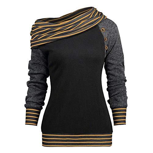 Oberteil Tops Damen Langarmshirt Langarm t-Shirt Bluse Falten Casual Stretch Tunika top Shirts für Herbst & frühling lose asymmetrisch Sweatshirt Pullover Bluse Oberteile (Orange,L) -