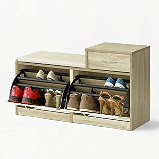Homfa étagère à Chaussures 3 Niveaux Meuble Banc De Rangement
