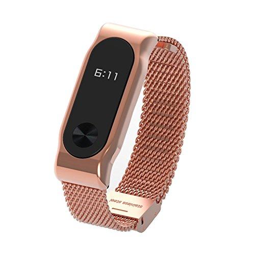 COOSA Moda de acero inoxidable cinturón correa de la muñeca con marco de metal Wristband pulsera accesorios para Xiaomi Mi banda 2 Smart Watch (no Tracker) (2 rosa oro, metal para xiaomi pulsera inteligente 2)