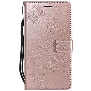 DENDICO Huawei Mate 7 Hülle, PU Leder Handyhülle mit Standfunktion und Kartenfach, Schmetterling Muster Magnetverschluss Flip Brieftasche Etui TPU Schutzhülle für Huawei Mate 7