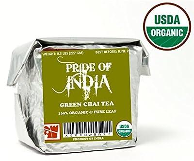 Pride Of India - Thé vert bio Chai, demi livre en vrac