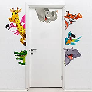 Rawpockets Cartoon Kids Animals' Wall Sticker (PVC Vinyl, 120 cm x 100cm), Multicolour