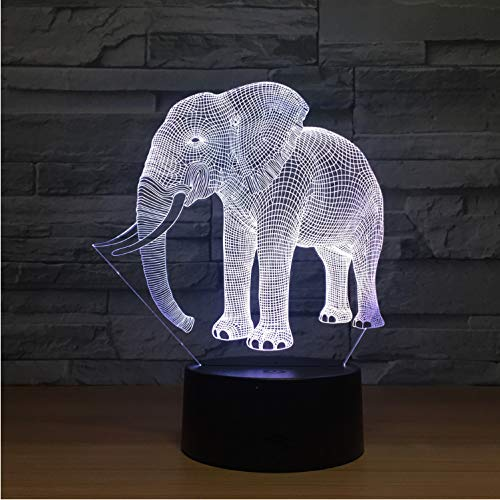 Night Light Birthday Gift Night Lights Ivory Elephant 3D Night Lights Novelty Led Animal Lamp 7 Colorful Changing Led Touch Table Lamp Ivory Night Light