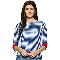 Miss Chase Women's Blue and White Round Neck 3/4 Sleeves Striped Top