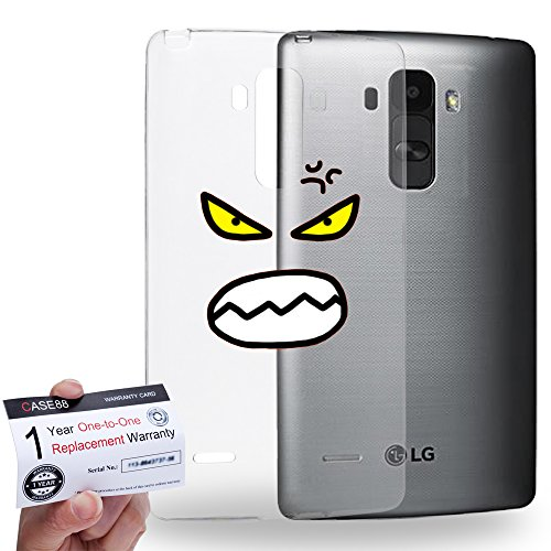 Case88 [LG G4 Stylus] Gel TPU Hülle / Schutzhülle & Garantiekarte - Art Fashion Mad Kawaii Emoticon Edition * Transparent background *