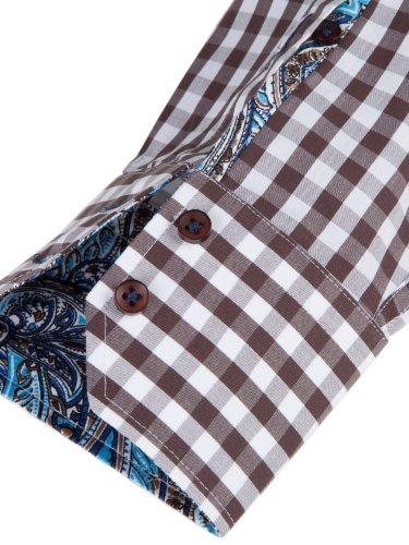 Sands Herren Hemd Adam mit Button-Down Kragen braun kariert mit paisley