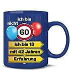 Golebros Ich Bin Nicht 60 ich Bin 18 mit 42 Jahren Erfahrung 5351 Geburtstagstasse Runder Geburtstag Geschenke Opa Oma Frauen Männer Birthday Tasse Becher Blau