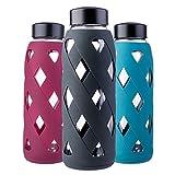 MIU COLOR 790ml Glas-Wasserflasche Trinkflasche mit Silikonhülle BPA-Frei Glasflashe für Büro, Wandern, Sport, Yoga (Schwarz)
