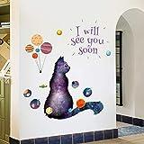 Mignon Star Chats Stickers Muraux Pour Chambres D'enfants Filles Bébé Chambre Salon Décor À La Maison Stickers Vinyle Animales Papier Peint