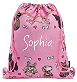 Fringoo Personalised Kids Drawstring Bag with Zipped Pocket PE Bag Swimming Football Gym School Bag for Boys Girls (French Dog World)