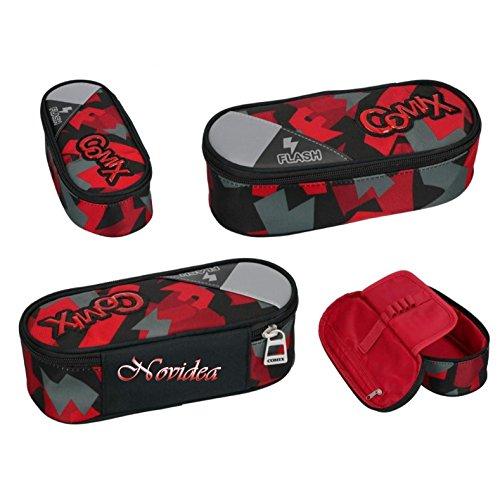 Astuccio ovale comix flash organizzato portapenne rosso 22x10x7 cm