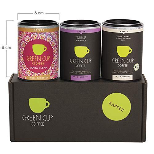 Green Cup Coffee Kaffee Probierset - sortenreine, fair gehandelte Arabica Kaffeebohnen - Kaffee Bohnen aus Costa Rica, Guatemala & Peru - 3x 45g gemahlen