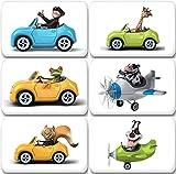 Merchandise for Fans 3D-Tiere im Auto und Flugzeug - 6 rechteckige Kühlschrankmagnete 7X 4,5 cm - 07 für Memoboard Pinnwand Magnettafel Whiteboard