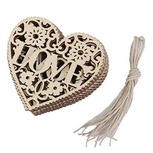 Qingsun 10 Pcs Hollow Wooden Heart Shape LOVE Craft Embellishments Wedding Decoration DIY Arts Crafts Making 80mm