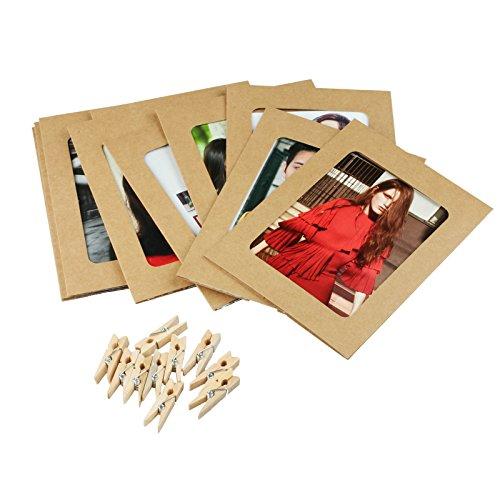 Vlovelife 10 pcs Papier Cadres Photo DIY Cadres Photo avec Clips et Cordon pour 8,9 x 10,2 cm Petite Photos, Kaki, 4.5'' x 6''