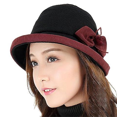 Élégant femmes pots, chapeaux, enfants, automne, hiver, la mode casual, curling hat,M (55-57cm) Réglementation du sweat band,Noir et rouge
