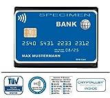 Datenschutzhülle für kontaktlose Kreditkarten, EC-Karten, GiroGo, Ausweise, Karten (RFID, NFC, Funk-Chip)