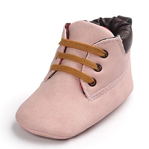 Babyschuhe Lederschuhe Neugeborenen Lauflernschuhe Baby Mädchen Krippeschuhe Krabbelschuhe Rutschfest Weiche Schuhe Sternchen Schuhe Wanderschuhe Krabbelschuhe LMMVP (Rosa, 11CM (0~6 Month))