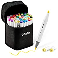 Ohuhu 48 Pieces Colorful Art Markers Twin Tip Brush and Chisel Set for Kids Artist Students Sketch Brush Markers Adult Colouring Calligraphy
