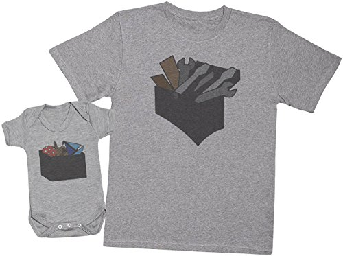 Zarlivia Clothing Tool Box and Toy Box - Ensemble Père Bébé Cadeau - Hommes T-Shirt & Body bébé - Gris - XXL & 18-24 Mois