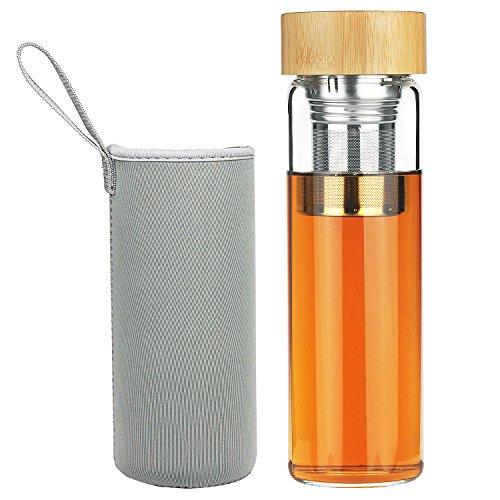 r Borosilikattee Tee Filter Glas Trinkflasche mit Bambusdeckel 600 ml ()