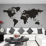 MairGwall World Map Wall Decal World Country Atlas Sticker Family Living Room Art Vinyl (Black, X-Large)