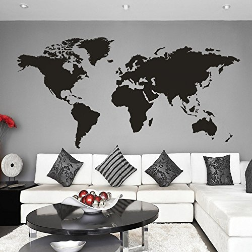 Dekor world the best amazon price in savemoney world map wall decal removable map decal vinyl map wall decoration world map wall sticker living gumiabroncs Choice Image