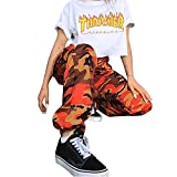 ORANDESIGNE Frauen Sport Camo Cargo Hosen 2018 Jugend Outdoor Casual Camouflage Hosen Jeans Orange EU Medium