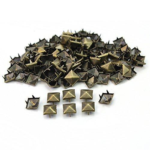 100 Teile 9mm Mode Bronze Farbe Eckig Pyramide Dornen Nieten Nieten DIY Tasche Schuhe