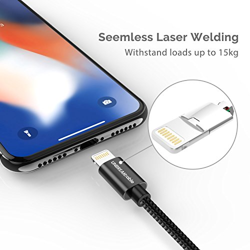 UNBREAKcable Apple iPhone Charger Cable - [Apple MFi Certified] - 6.6ft/2m Double-braided Nylon Lightning Cable Fast Charging Cable for iPhone Xs Max X XR 8 7 6s 6 Plus SE 5s 5c 5, iPad iPod Img 2 Zoom
