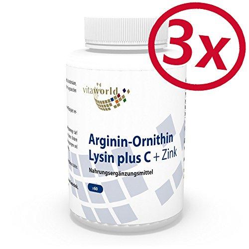 Vita World Pack di 3 Arginina-ornitina-lisina + C & zinco 3 x 60 Capsule Made in Germany