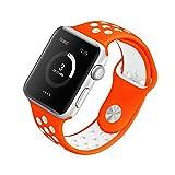 [Style A] Yincol Apple Watch Armband Series 1 Series 2, Fashion Weiches Silikon Sportarmband Ersatzarmband Wrist Band für iwatch 1 iwatch 2 Uhr Verstellbar (Orange, 38 S/M)