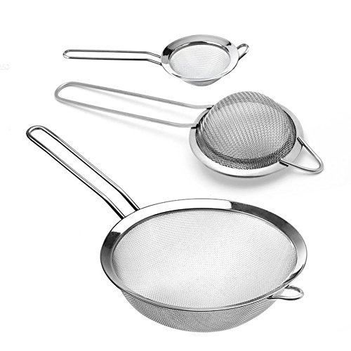 Küchensieb Mehlsieb, Infreecs Feinmaschiges Sieb Set 7/12/18 cm, Küchensieb aus Edelstahl Küchensieb-Set, 3-teilig