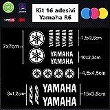 Sardegna Services Aufkleber-Set, Yamaha R6, Motorrad-Sticker, 16 Stück, Zubehör, Farben nach Wahl weiß
