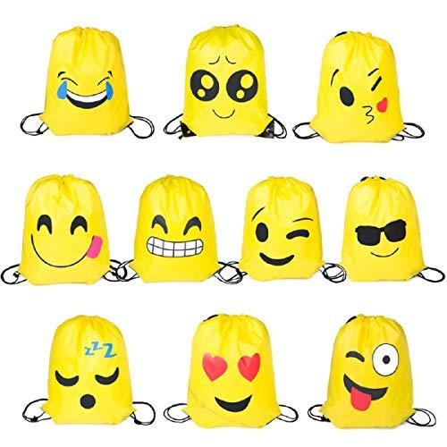 Longwan Emoji Turnbeutel, 10 Stück Mitgebsel | Kindergeburstagen | Gastgeschenke für Kinder Geburtstage, Kunst und Handwerk Veranstaltungen -