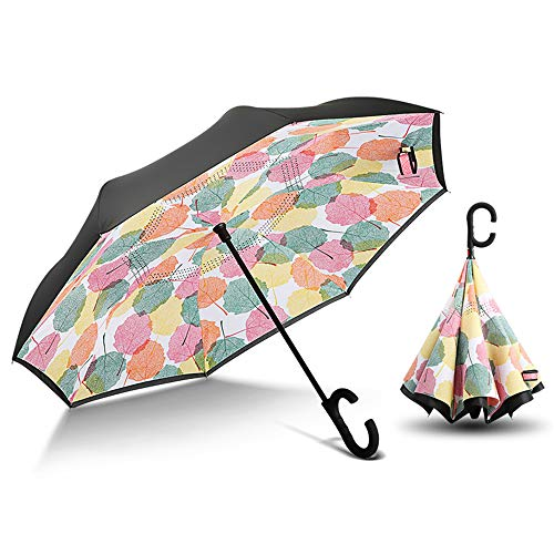 Reverse Umbrella Car Umbrella Manual Kreative Double-Layer-Free Long Handle Regenschirm Regen-Proof Sonnenschirm Business Regenschirm Bunte Blätter -